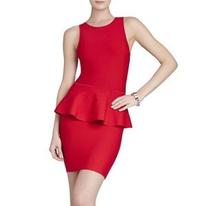 BCBG Francis Peplum Cocktail Dress in Red
